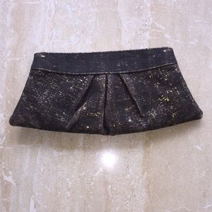 Charcoal and gold clutch